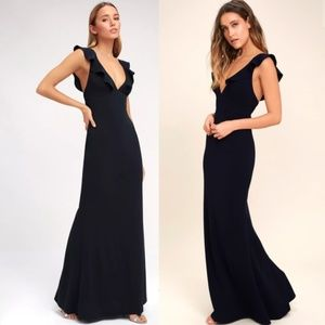"""TAILORED (5'3"""") Lulu's Navy Gown  - XS"""